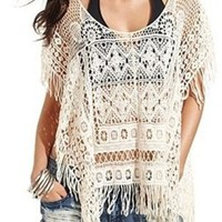Group Sexy White Color Hollow Out Crochet Sun Shirt Beach Bikini Cover Up:Amazon:Clothing