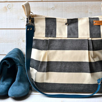 Waterproof Black BEST SELLER Diaper bag/Messenger bag STOCKHOLM Black and ecru nautical stripe bag purse - 12 Pockets - Blue leather strap