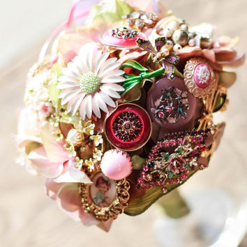 Spring Floral Miniature Bridal Vintage Brooch Rustic Bouquet bridesmaid, flower girl, Pink Green Lavender Yellow Bridesmaid Prom