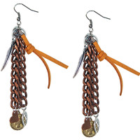 Chandelier Earrings in chocolate deerskin leather with charms