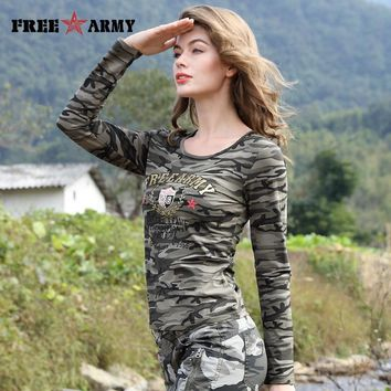 Brand T-Shirt Long Sleeve Women Cotton Print T Shirts Women Tops Tees Military Slim Spandex Casual Camo tshirt Female Tops Tees