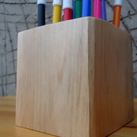 Office Organizer 16 holes Wood Pen holder office equipment Wooden pine Desk Organizer Back to school Gift READY TO SHIP