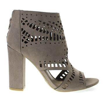 Encounter22S Taupe by Bamboo, Taupe Laser Chop Out Ankle booties Sandal, Chunky Block Heel, Women's Shoes