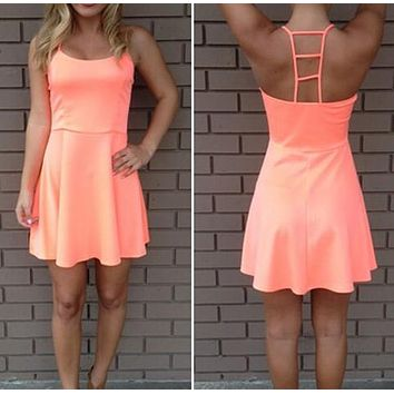 Orange Sleeveless Fashion Hollow Mini Dress