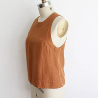 Vintage 90 Rust Orange Linen Racerback Tank Top