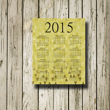 2015 Calendar Gold Black Printable Instant Download Print Poster Instant Download Wall Art Home Decor C103blackgold
