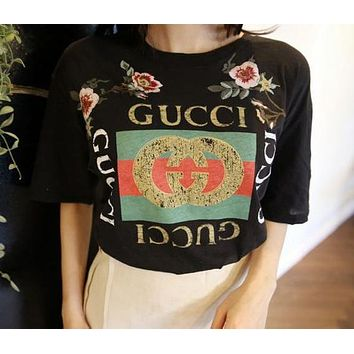 GUCCI Fashion Loose Flower Print Shirt Top Tee
