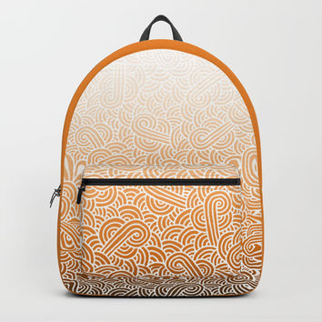 Ombre orange and white swirls doodles Backpack by Savousepate