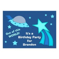 Out of World Spaceship Kids Birthday Party 3.5x5 Paper Invitation Card