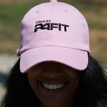 Herbalife 24 FIT polo dad hat, light pink w/black