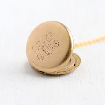 Antique Monogrammed Small Locket Necklace- 1/4 Gold Shell 1910s 1920s Early 1900s W&H Co. Jewelry