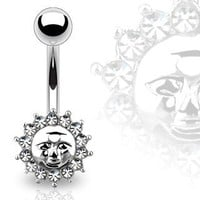 Body Accentz™ Belly Button Ring Navel CZ Sun Jewelry 14 Gauge 3/8""
