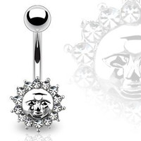 "Belly Button Ring Navel Cz Sun Jewelry 14 Gauge 3/8"" Ho679"