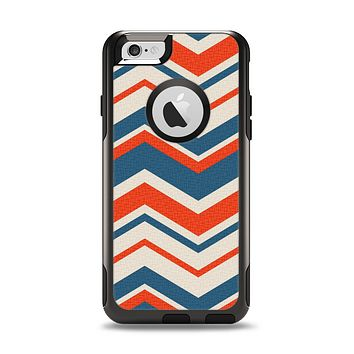The Red, White and Blue Textile Chevron Pattern Apple iPhone 6 Otterbox Commuter Case Skin Set
