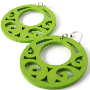 Lime Green Earrings, Boho Earrings. Wood Earrings Earrings in Green