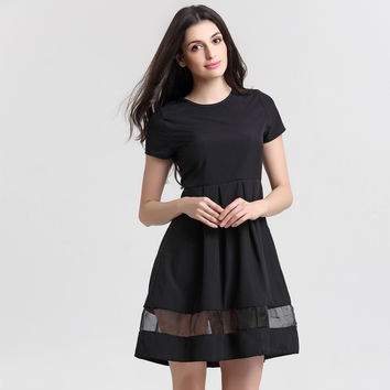 Fashion Round Neck Solid Casual Summer Dress - Black Vintage