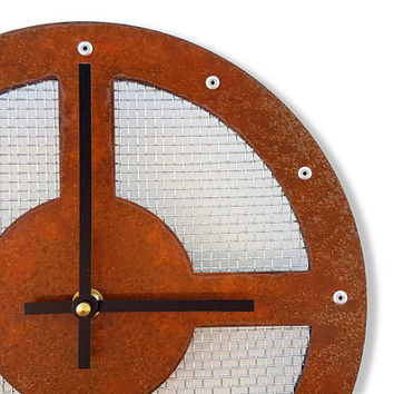 Mesh II, Medium, Rustic Wall Clock, Unique Wall Clock, Modern Wall Clock, Steampunk Home Decor, Industrial Metal Art, Laser Cut, Cool Gift