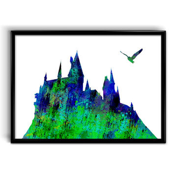 Hogwarts Castle Watercolor Print, Cotton Canvas print, Art Giclee Wall Decor, Harry Potter home decor