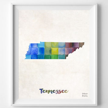 Tennessee, Map, Print, Nashville, Knoxville, Memphis, USA, Poster, Watercolor, Painting, Home Town, Decor, Art, States, Watercolour [NO 868]