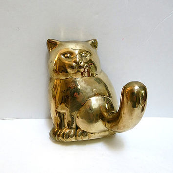 Brass Cat Wall Hook Hanger Vintage 1980s Home Decor