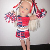 Ol Miss University of Mississippi American Girl Cheer Outfit Doll Cheer Uniform Our Generation Dolls By Sweetpeas Bows & More