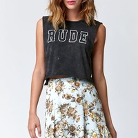 Hips and Hair Gwen Rude Muscle Cropped T-Shirt - Womens Tee - Grey Sandblast