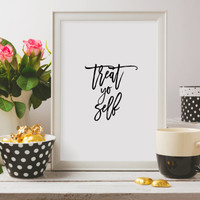 Wall artwork Printable Art, Gift for Friend, Treat Yo Self Print Office Wall Decor Cubicle Art Parks And Rec Quote Home Decor Dorm