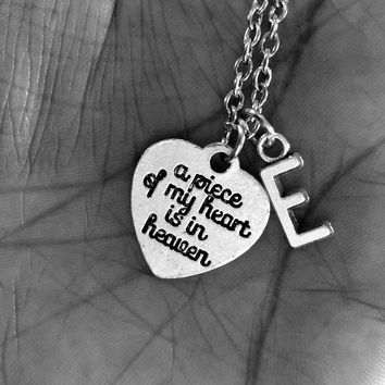 "Personalized Letter ""A Piece of My Heart is in Heaven"" Sentimental Necklace Gift - Loss of a Loved One Remembrance Jewelry Gift"