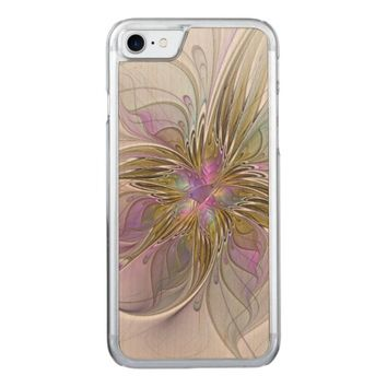 Floral abstract and colorful Fractal Art Carved iPhone 7 Case