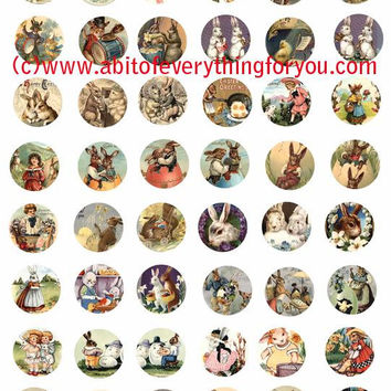 easter bunny rabbit baby chicks clip art collage sheet 1 inch circles graphics vintage postcard images digital download craft printables