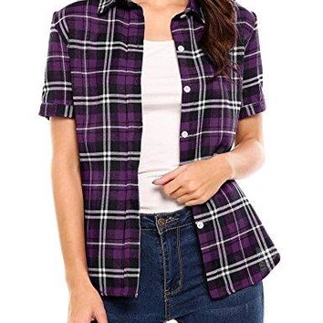 Elever Women's Plaid Flannel Shirt Checkered Long Sleeve Cotton Shirts(Purple,XXL)