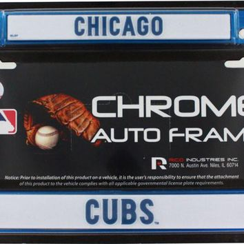 Chicago Cubs Blue Color Chrome License Plate Frame