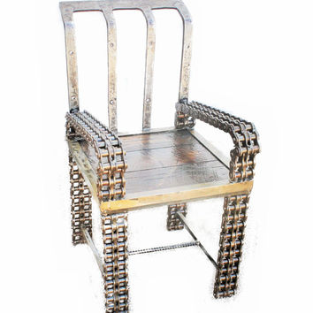 Junkmans Throne, Accent Chair, Chain Art, Bench, Unique Furniture by Recycled Salvage