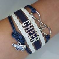 Cheer bracelet, Cheerleader gifts, Team gifts, Team sports, Navy/white color, friendship gift
