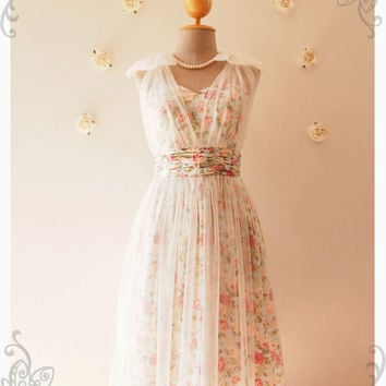 Amorita Rhyme Evening Dress Floral Wedding Dress Floral Bridesmaid Dress Prom Party Dress Rose Elegant Tutu Floral Dress -Size XS-XL, Custom