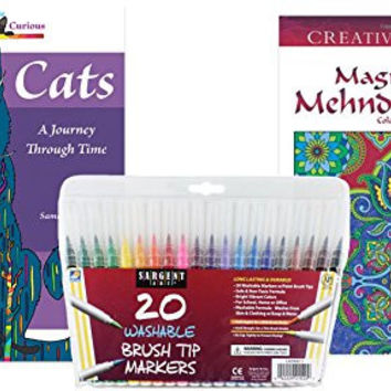 Sargent Art Washable Firm Brush Tip Markers, Set of 20 and 2 Adult Coloring Books, Dover Creative Haven Magnificent Mehndi, and Coloring for Curious Cats: Stress Relieving Designs to Relax and Enjoy!