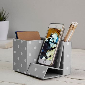 Fabric Phone Holder, Gray Dottie