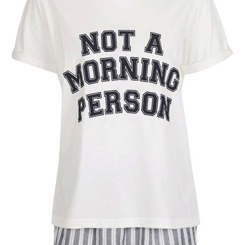 Not a Morning Person Pyjama Set | Topshop