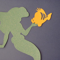 Disney inspired Princess Ariel from the Little Mermaid silhouette for a nursery or little girl's room, Paper Art
