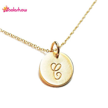 AOLOSHOW Initials Necklace Women Gold Silver plated Collier Femme Jewelry Tiny Disc Initial Letters Pendant Necklace NL-2459