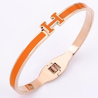 Hermes Multicolor Bracelet Ladies Candy Color Titanium Steel Gold-Plated