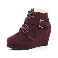 River Island Girls red wedge boots