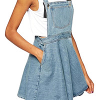 Blue Denim Suspender Skater Mini Dress