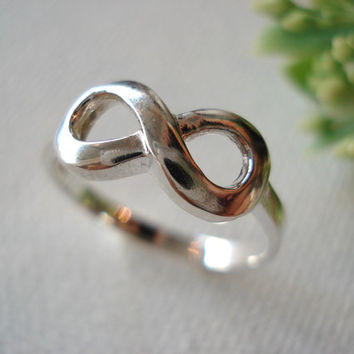"Engrave Sterling Silver ""Infinity Custom Ring"" any message, handmade jewelry, everyday, wedding, best friend, birthday, mother's day gift"