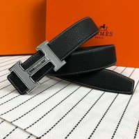 HERMES Fashionable Woman Men Casual H Letter Smooth Buckle Belt Leather Belt