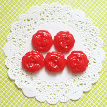 Red Rose Cabochons, Handmade Flatbacks