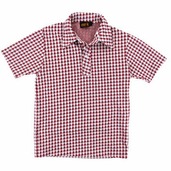 Red and White Houndstooth Shirt - Polo Button Down Short Sleeve 70's Retro - Men's Extra Small Sm Xs S