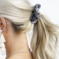 Early Start Charcoal Grey Snakeskin Hair Scrunchie