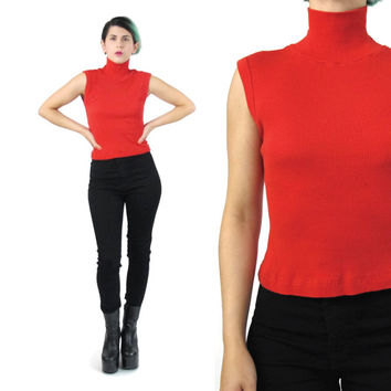 90s Turtleneck Tank Top Sleeveless Ribbed Tank Red Turtleneck Mock Neck Tank Red Tank Top Stretchy Rib Knit Tank Top Modern Minimalist (S)