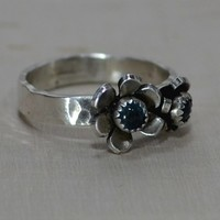 Swiss Blue Topaz Double Flower Sterling Silver Ring